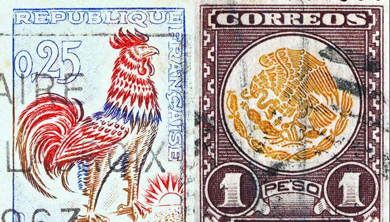 timbres postaux français et mexicain