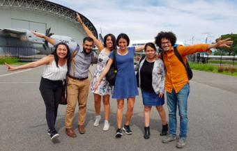Les étudiants et l'équipe MUFRAMEX, lors de la visite à la chaîne Airbus